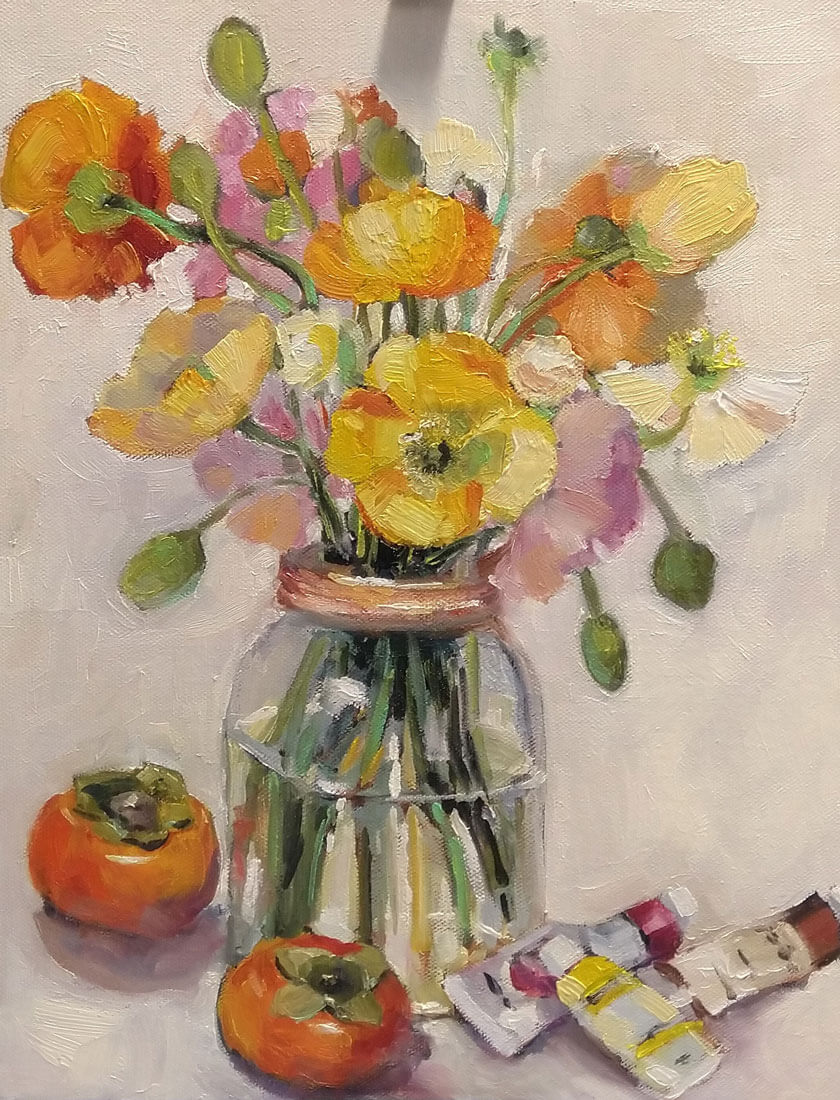 Liz Burton: Poppies in Progress