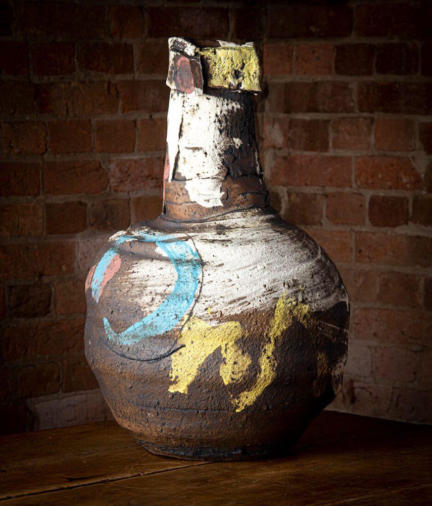 John Higgins, Vessel, stoneware, slips, oxides, underglazes, 2014. Image, Ashley Mackevicius