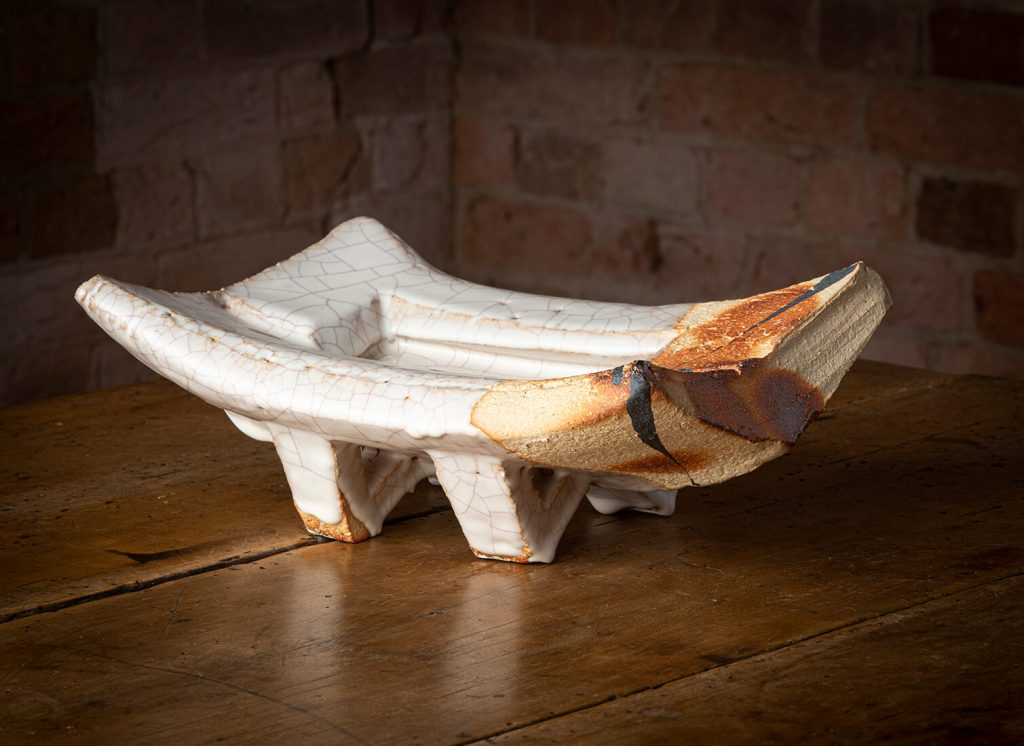 Paul Davis, Platter, stoneware, slab built, Hagi rice ash glaze, 2007. Image Ashley Mackevicius