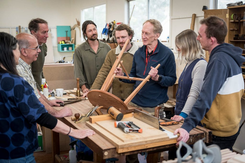 Peter Young with students in the Wood School, 2021